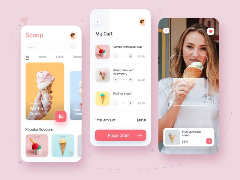 Scoop App dessert scoops icon app design app camera food app foodapp icecream minimal ecommerce app ecommerce uidesign shopping cart shopping app uiux ui