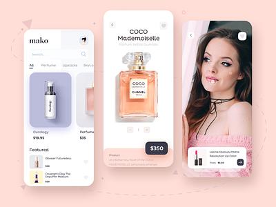 Mako App shopping cart shopping app shop ecommerce app ecommerce camera app cosmetic perfume minimalist minimal makeup beauty salon beautyapp beauty uiux uidesign ui design ui