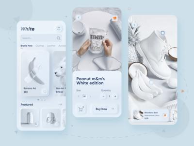 White Skeuomorph Styled Shopping App
