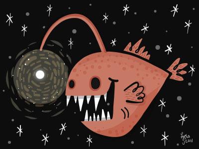 Angler angler illustration character design spooky halloween ipad pro adobe draw lydia jean art vector illustration angler