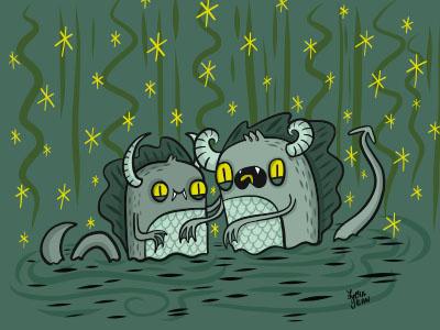 Swamp Creatures character design book illustration lydia jean art ipad pro halloween vector design art spooky illustration