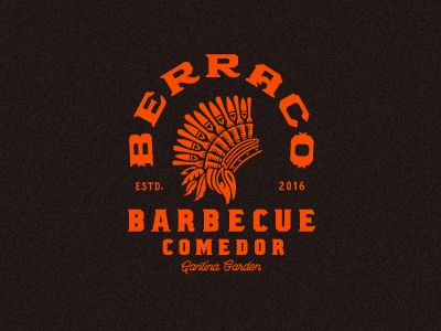 Barbecue Comedor forks headdress logotype typography restaurant ribs mexico barbecue bbq