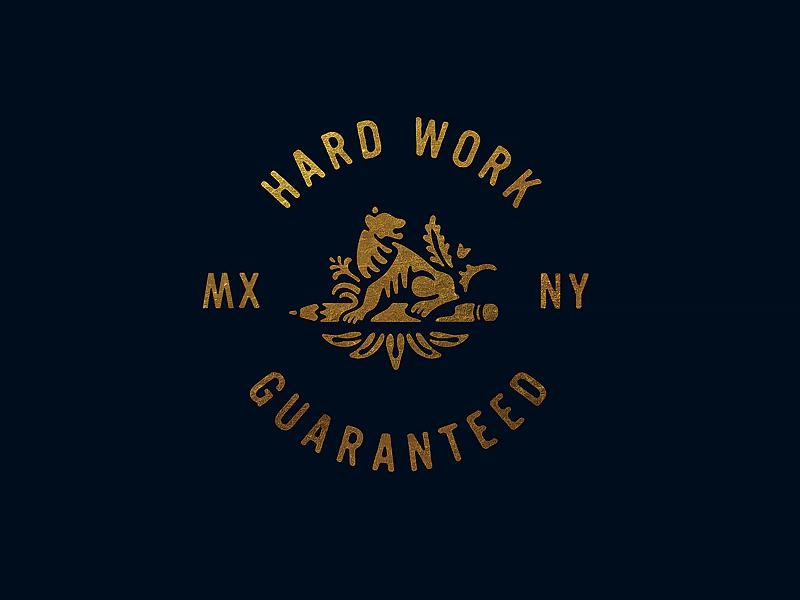 Always lettering gold foil lion branding logotype