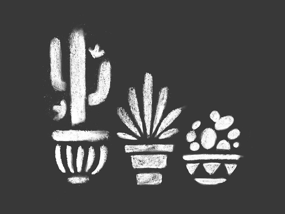 Carbón carbón mexican taqiza restaurant charcoal pots plants cactus design branding mexico illustration