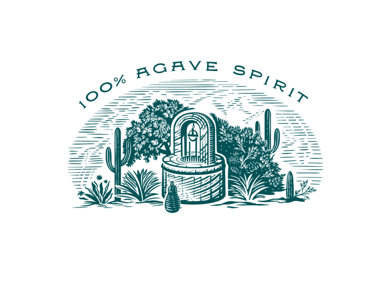 Agave Gin mexico garden botanical trees water wheel water nature plants cactus gin agave crafted typography illustration