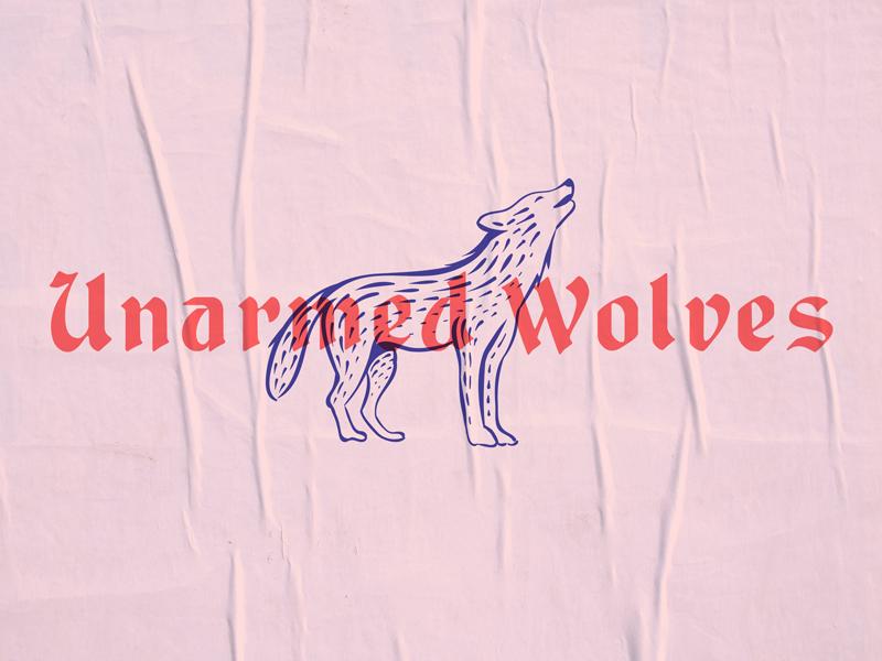 Unarmed Wolves logo logotype lettering illustration