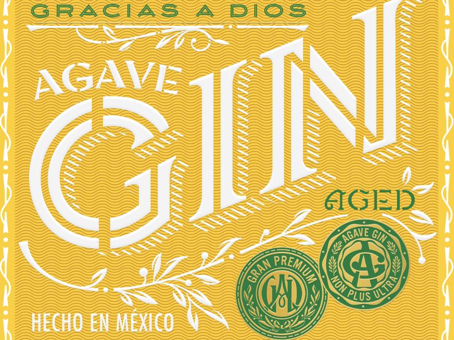 Gracias a Dios stencil lettering stencil type custom typography monogram monograms mexico gin packaging package design custom lettering lettering typography