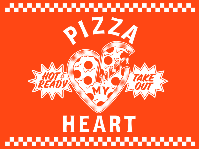 Pizza My Heart casual letters lettering pizza illustration pizza logo illustration logo pizza