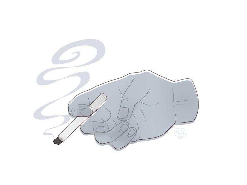 Ash smoke hand ash cigarette