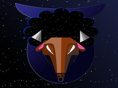 Taurus zodiac sign flat minimal logo illustrator illustration design vector