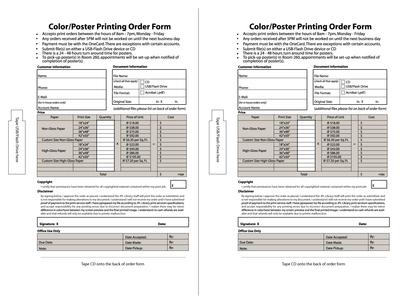 Sample Order Form Design -- half sheets
