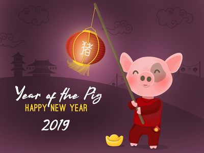 Spring Festival - Tet thuyngo lantern character pig lunarnewyear 2019 vietnamesenewyear chinesenewyear scene springfestival vector illustration yearofthepig tet