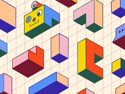 Building Bots grids blog intercom isometric color editorial illustration