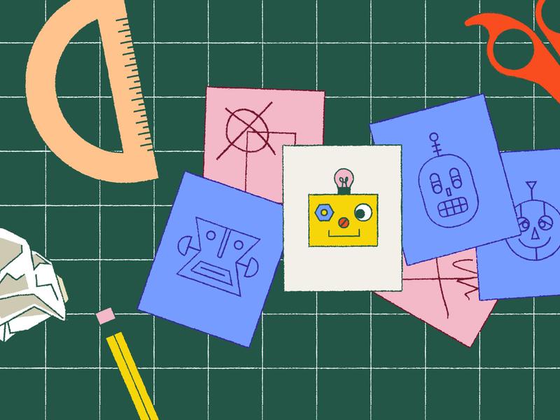 Designing Bots robots process gird editorial blog illustration
