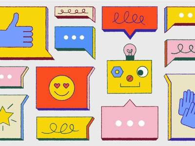 Sales Bot color editorial blog intercom illustration