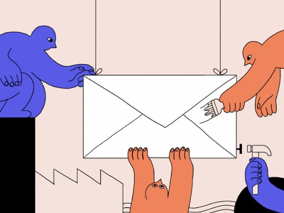 Email Marketing intercom color people editorial illustration