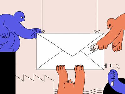 Email Marketing intercom color people editorial illustration