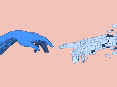 Breaking Past Human Limits hands duotone intercom editorial illustration