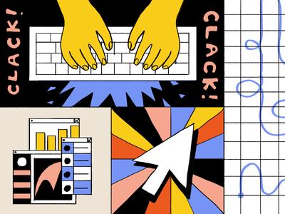Product Engagement grids colors intercom editorial illustration