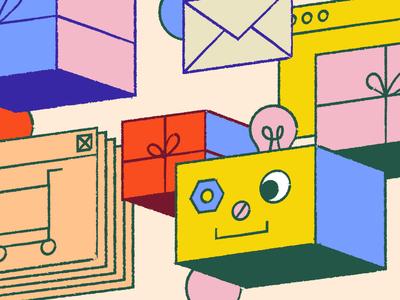 Holiday Bot holidays presents shopping blocks colors editorial intercom illustration