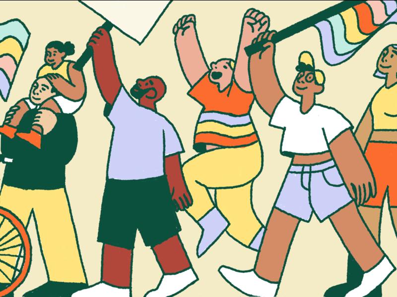 Pride 2019 people editorial intercom illustration protest pride