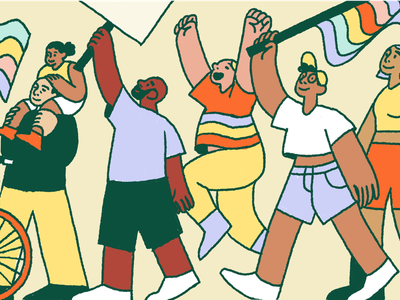Pride 2019 people editorial intercom illustration protest pride