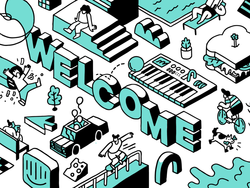 Welcome Card duotone people intercom illustration