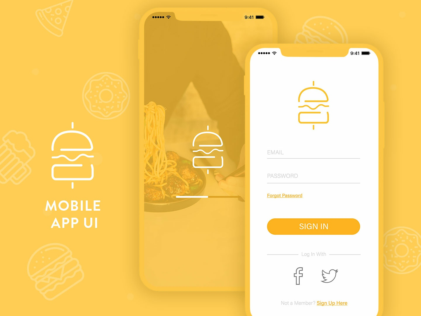 Food Mobile App UI food app ui ui app design app yellow logo creative ui illustration design