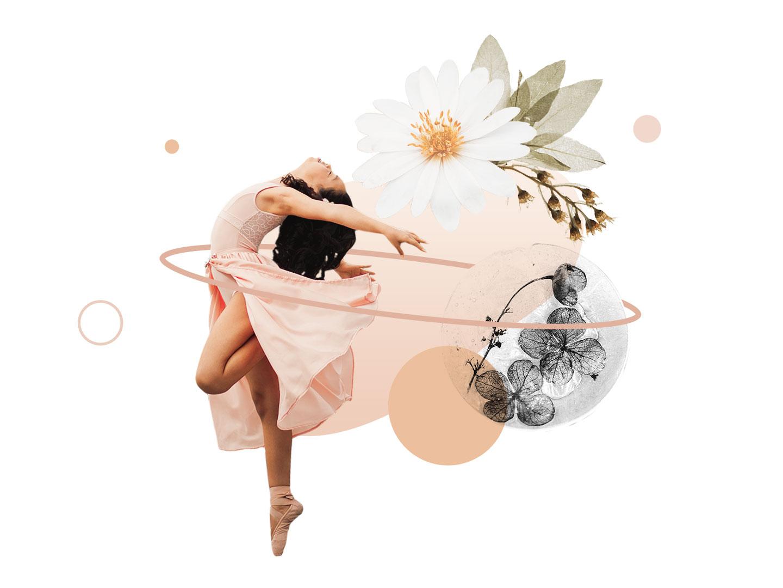 Collage 16 - Ballerina Dreaming dance femenine concept warm up collage creative pink illustration design