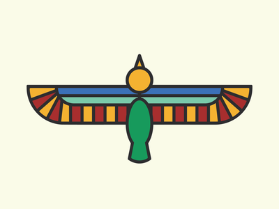 Horus Monoline Illustration, Traditional Palette vector monoline illustration