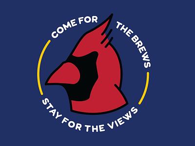 NC Views brewery badge vector monoline illustration cardinal raleigh