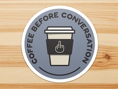 Coffee Before Conversation middle finger coffee sticker vector illustration monoline