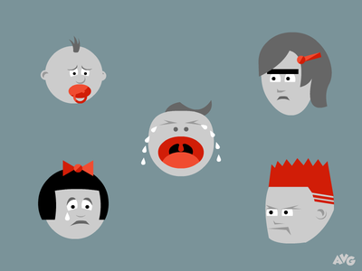 Angry Kids kids faces sad angry game characters