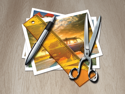 Icon for Photo Resizing App photo pen ruler scissors