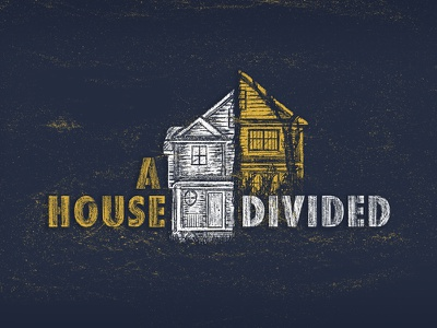 A House Divided Illustration divided tree yellow blue luke texture illustration house