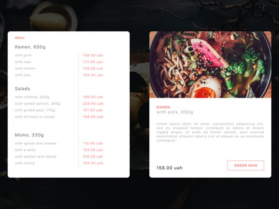 Daily UI - Menu Pricing