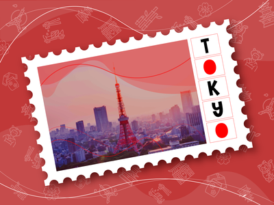 WEEKLY WARMUP CHALLENGE // POSTCARD DESIGN weekly warm-up japan vector postcard graphic design design