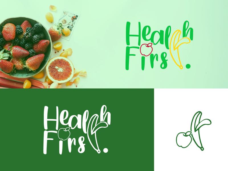 Health First Logo typography food vector illustration identity illustrator branding graphic design logo design