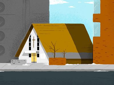 St. Francis Catholic Church procreate calgary illustration
