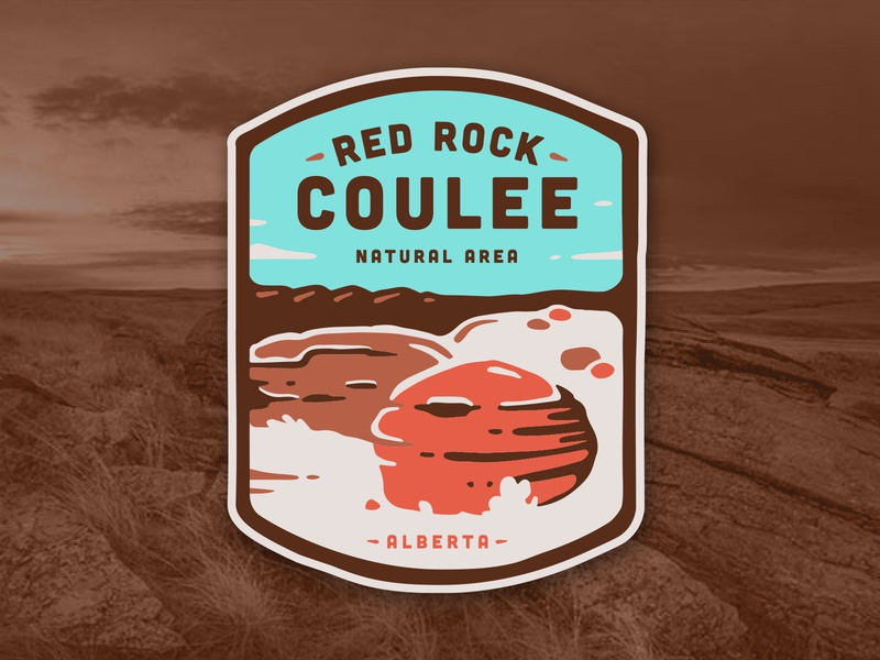 Red Rock Coulee Badge illustration red rocks coulee patch badge parks