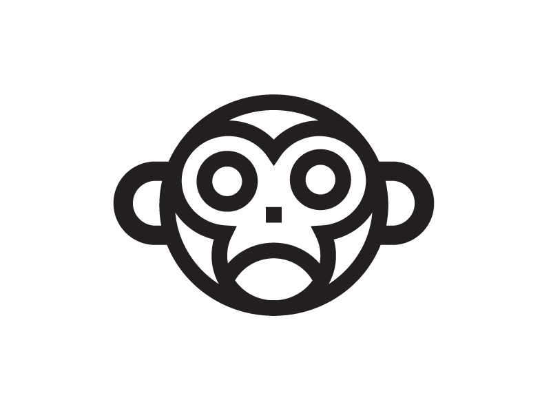 Not So Cheeky Monkey worksonpaper monkey thick lines roundimals sad logo icon