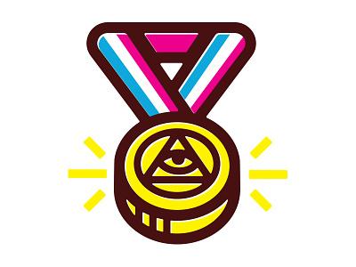 Eye O.C. (Sticker Mule Rebound) thick lines ribbon sticker mule olympics gold medal illuminati