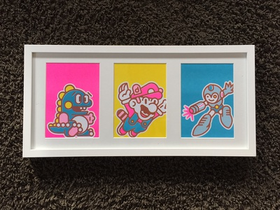 NES Classic Heroes Risograph Set halftone prints bobble bubble megaman mario nes neon risograph