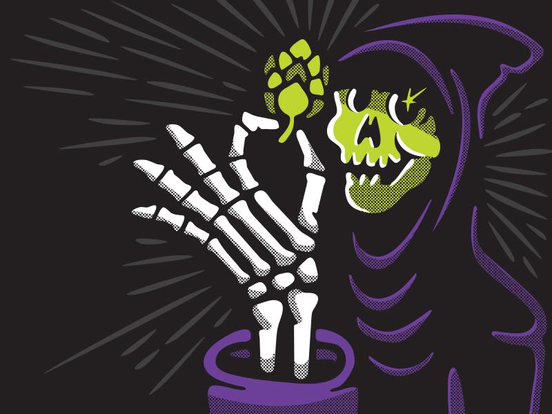 New Level Reaper purple brewing beer skull skeleton hops reaper