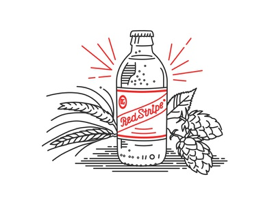 Red Stripe Illustrations heineken smirnoff barley hops stubby red stripe jamaica beer
