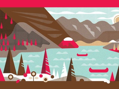 Lake Louise 2 Ways (2 of 2) mountain landscape illustration lake louise