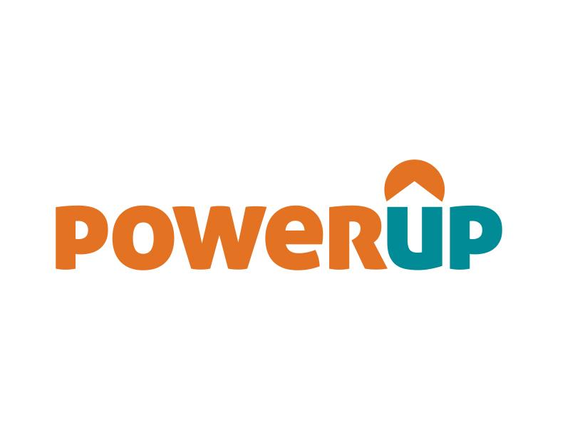 PowerUp Solar wordmark logo arrow house sun panel solar