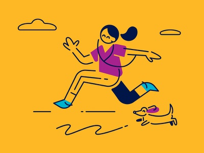 Nest Brand Illustrations biking wining dining shopping millenials brand jogger yellow