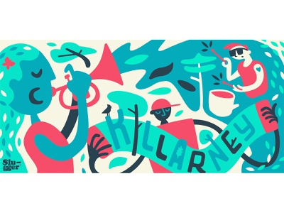 Coop Mural : The Neighbourhood Band calgary trees accordian drummer trumper band wall art mural
