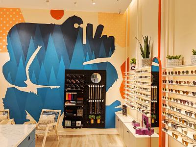 Bailey Nelson Wall Graphic eyewear peace handpainted sasquatch wall graphic environmental design retail mural